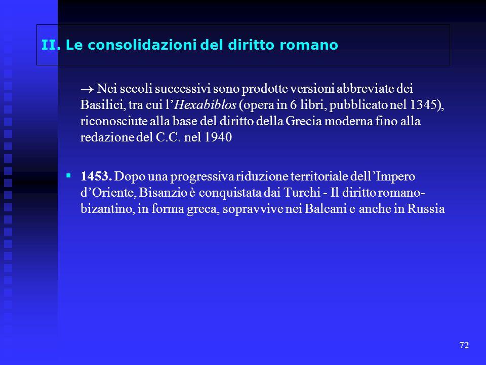 72 II. Le consolidazioni del diritto romano Nei secoli successivi sono prodotte versioni abbreviate dei Basilici, tra cui lHexabiblos (opera in 6 libr