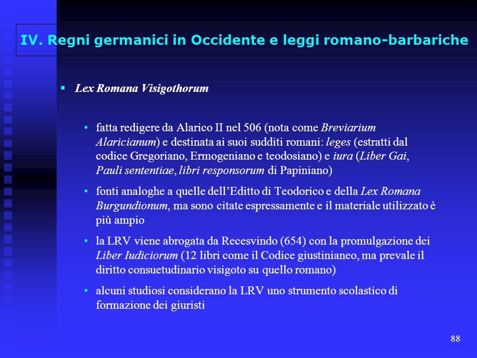 88 Lex Romana Visigothorum fatta redigere da Alarico II nel 506 (nota come Breviarium Alaricianum) e destinata ai suoi sudditi romani: leges (estratti