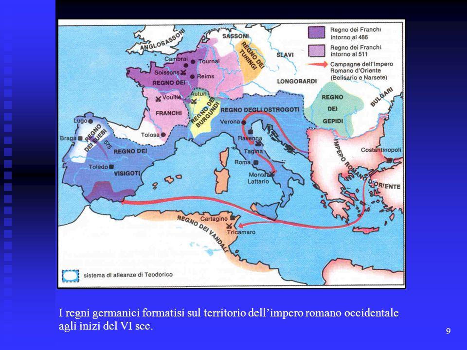 9 I regni germanici formatisi sul territorio dellimpero romano occidentale agli inizi del VI sec.