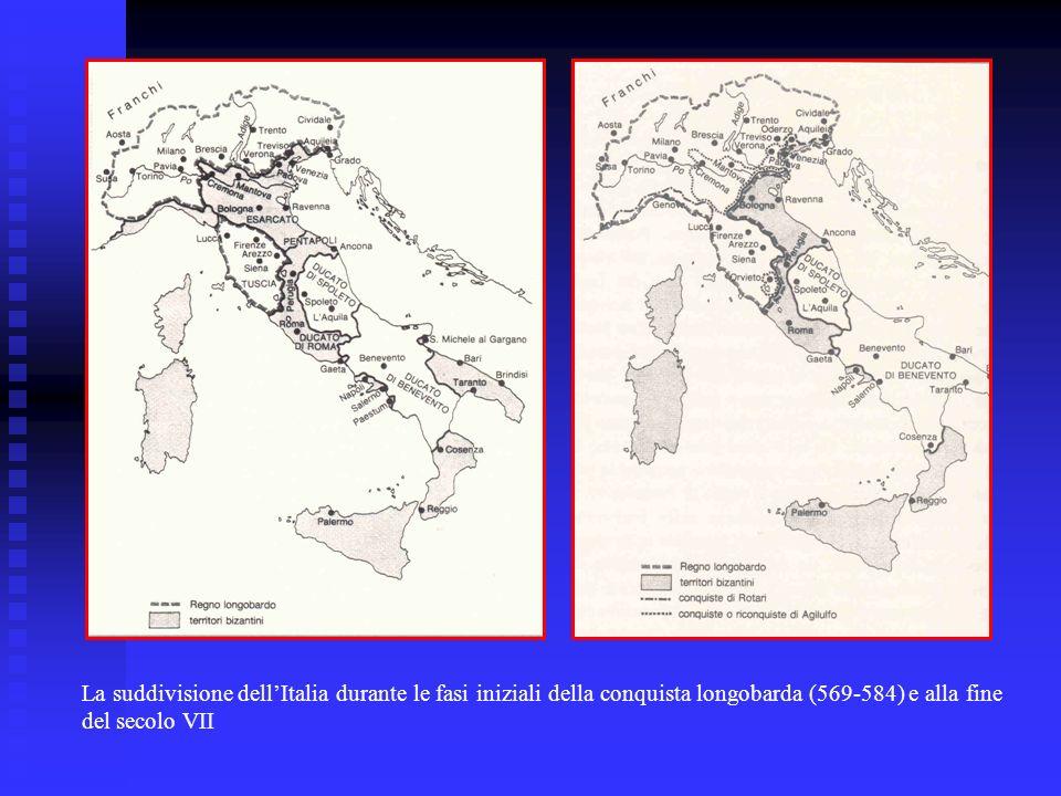 La suddivisione dellItalia durante le fasi iniziali della conquista longobarda (569-584) e alla fine del secolo VII
