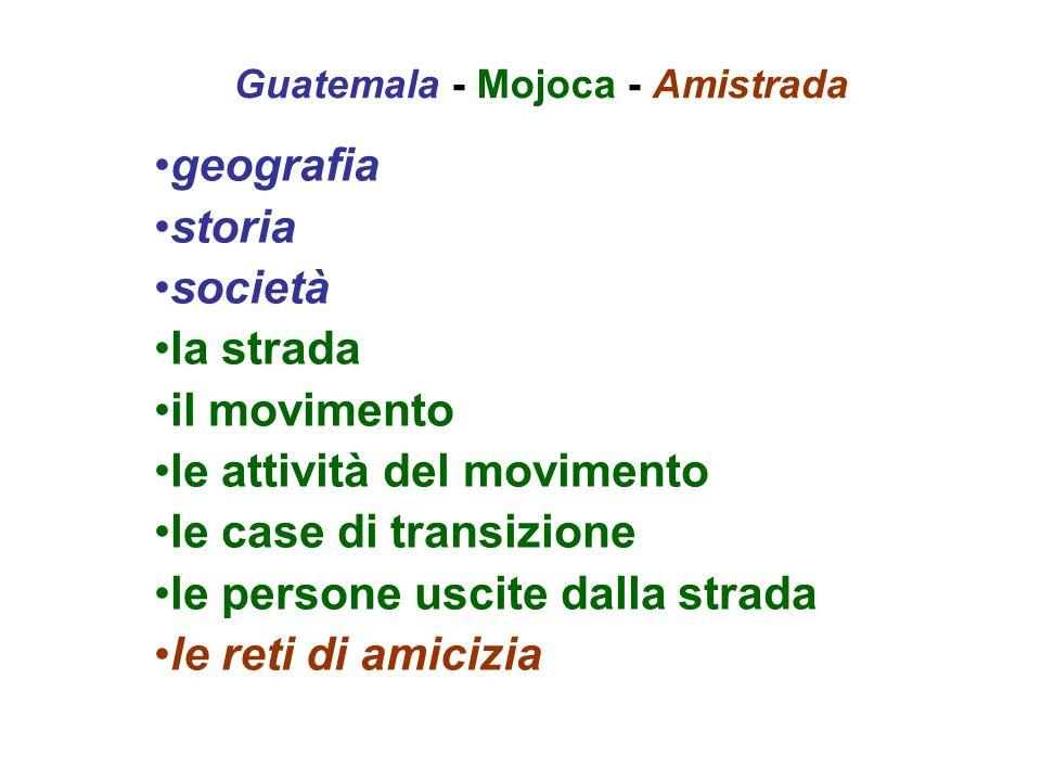 Guatemala - Mojoca - Amistrada geografia storia società la strada il movimento le attività del movimento le case di transizione le persone uscite dall