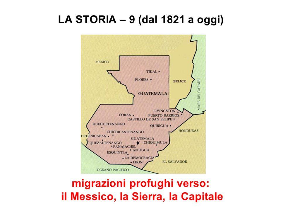 LA STORIA – 9 (dal 1821 a oggi) migrazioni profughi verso: il Messico, la Sierra, la Capitale