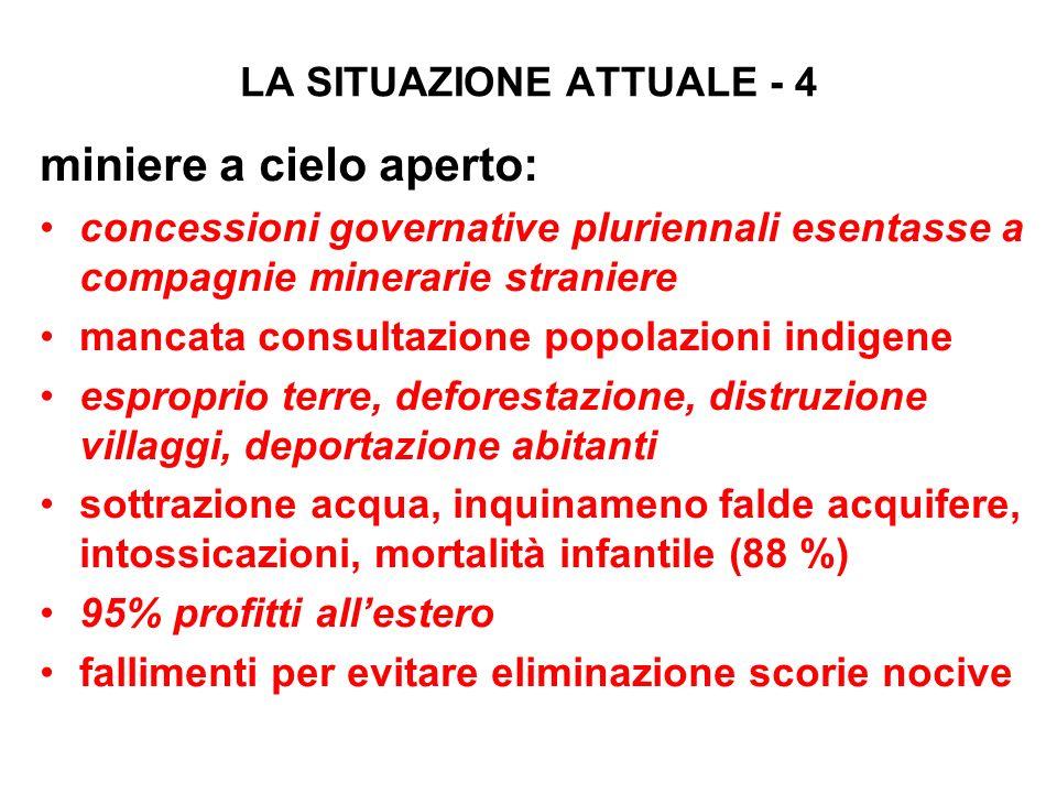 LA SITUAZIONE ATTUALE - 4 miniere a cielo aperto: concessioni governative pluriennali esentasse a compagnie minerarie straniere mancata consultazione