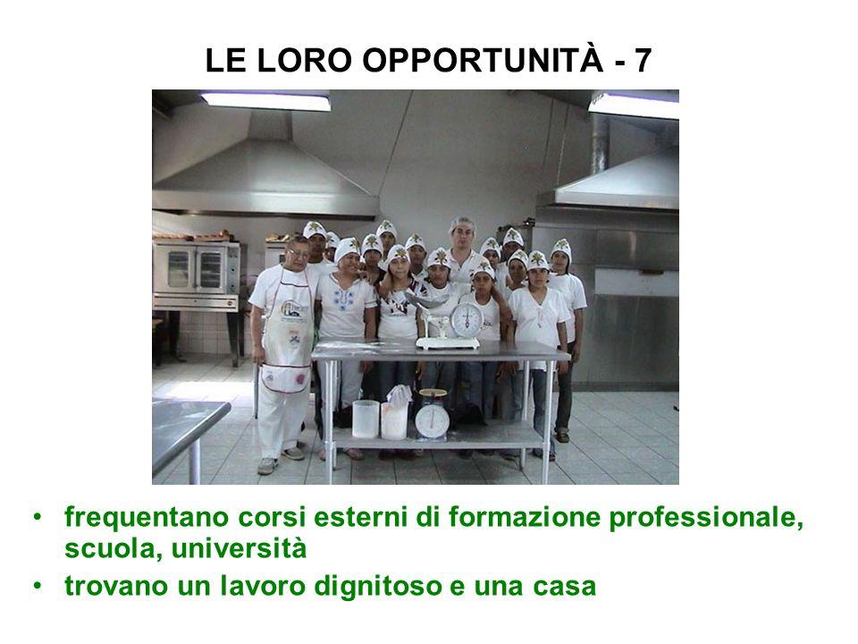LE LORO OPPORTUNITÀ - 7 frequentano corsi esterni di formazione professionale, scuola, università trovano un lavoro dignitoso e una casa