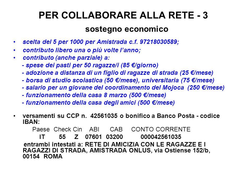 PER COLLABORARE ALLA RETE - 3 sostegno economico scelta del 5 per 1000 per Amistrada c.f. 97218030589; contributo libero una o più volte lanno; contri