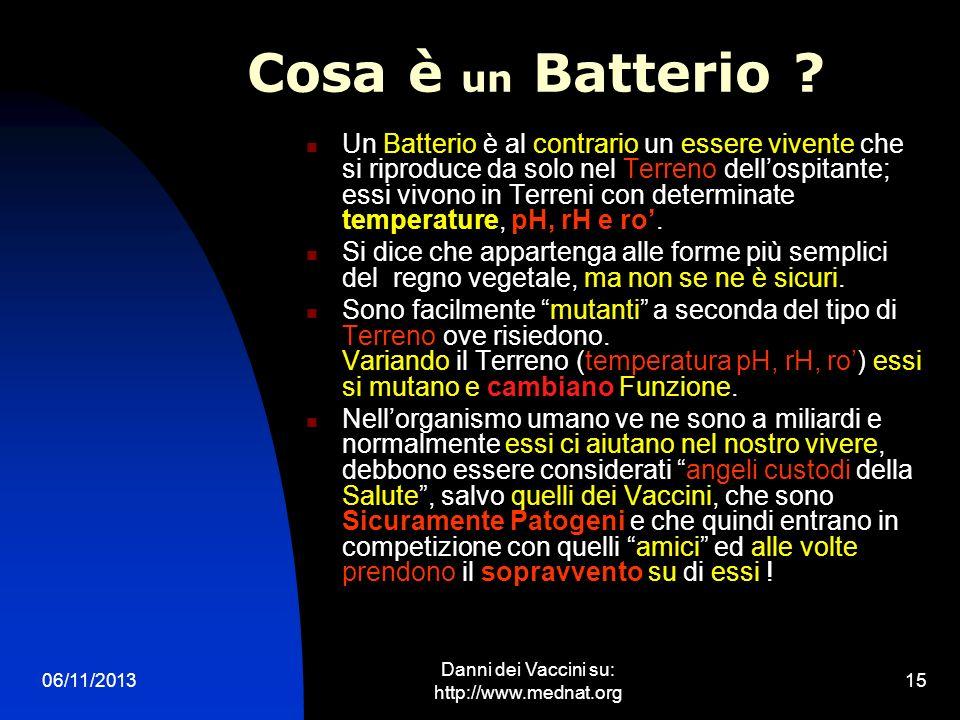 06/11/2013 Danni dei Vaccini su: http://www.mednat.org 15 Cosa è un Batterio ? Un Batterio è al contrario un essere vivente che si riproduce da solo n