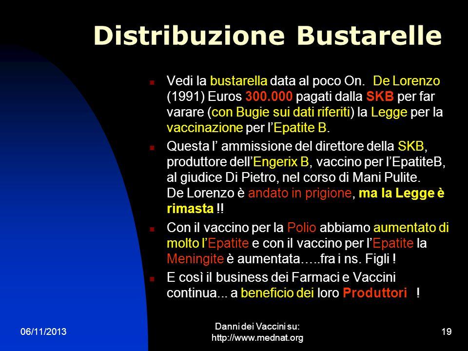 06/11/2013 Danni dei Vaccini su: http://www.mednat.org 19 Distribuzione Bustarelle Vedi la bustarella data al poco On. De Lorenzo (1991) Euros 300.000