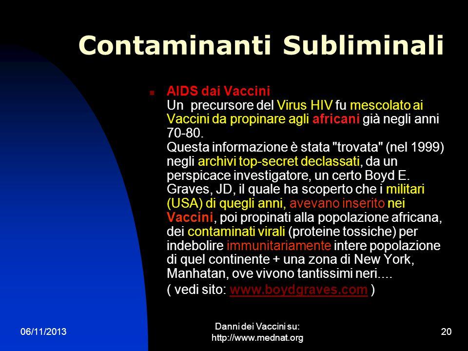 06/11/2013 Danni dei Vaccini su: http://www.mednat.org 20 Contaminanti Subliminali AIDS dai Vaccini Un precursore del Virus HIV fu mescolato ai Vaccin