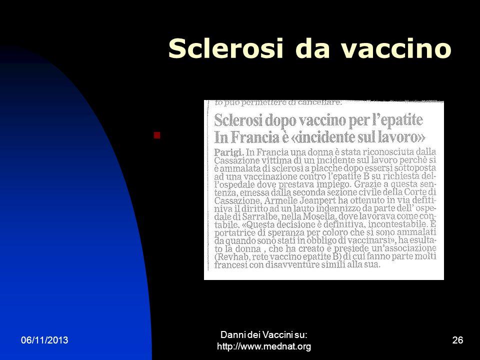 06/11/2013 Danni dei Vaccini su: http://www.mednat.org 26 Sclerosi da vaccino