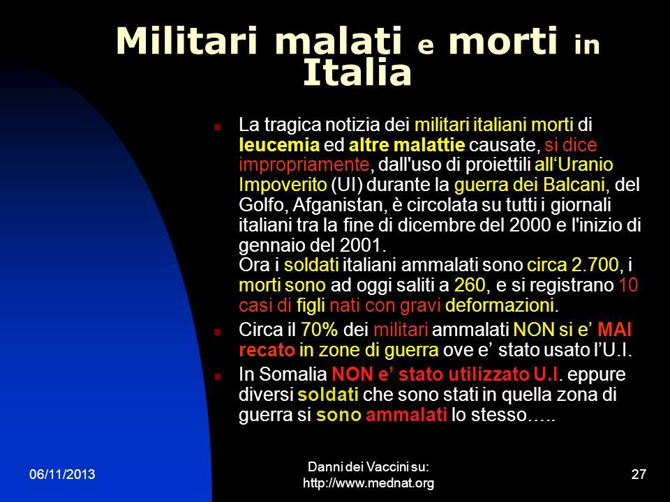 06/11/2013 Danni dei Vaccini su: http://www.mednat.org 27 Militari malati e morti in Italia La tragica notizia dei militari italiani morti di leucemia