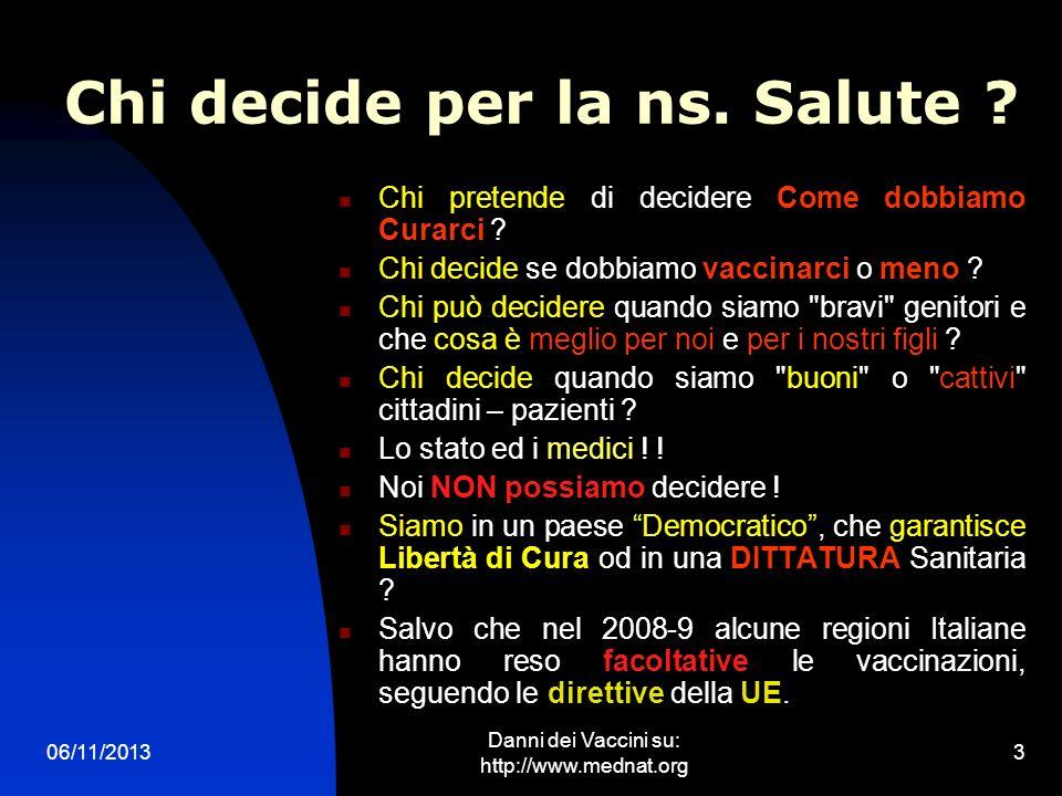 06/11/2013 Danni dei Vaccini su: http://www.mednat.org 3 Chi decide per la ns. Salute ? Chi pretende di decidere Come dobbiamo Curarci ? Chi decide se
