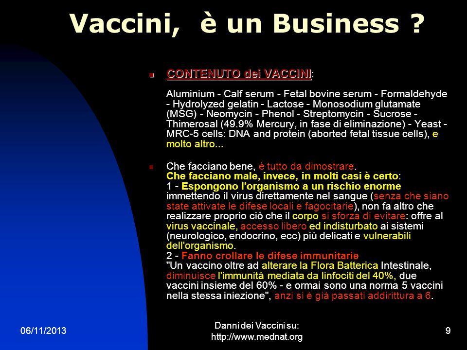 06/11/2013 Danni dei Vaccini su: http://www.mednat.org 9 Vaccini, è un Business ? CONTENUTO dei VACCINI CONTENUTO dei VACCINI : Aluminium - Calf serum