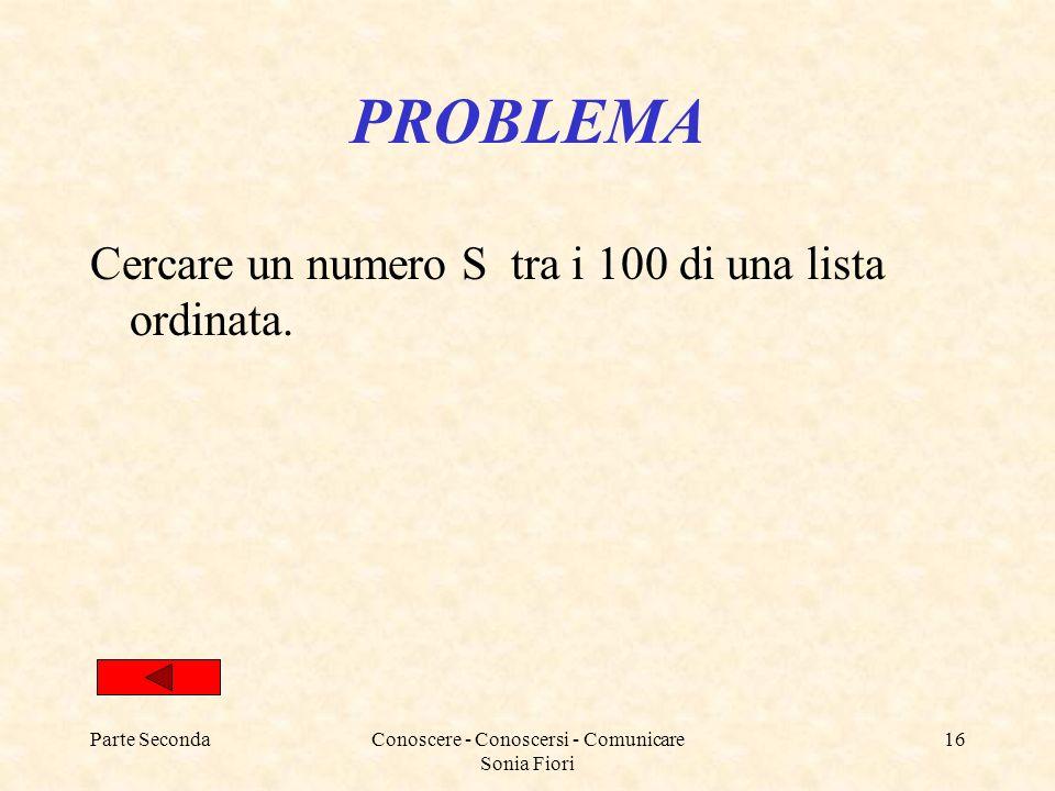 Parte SecondaConoscere - Conoscersi - Comunicare Sonia Fiori 16 PROBLEMA Cercare un numero S tra i 100 di una lista ordinata.