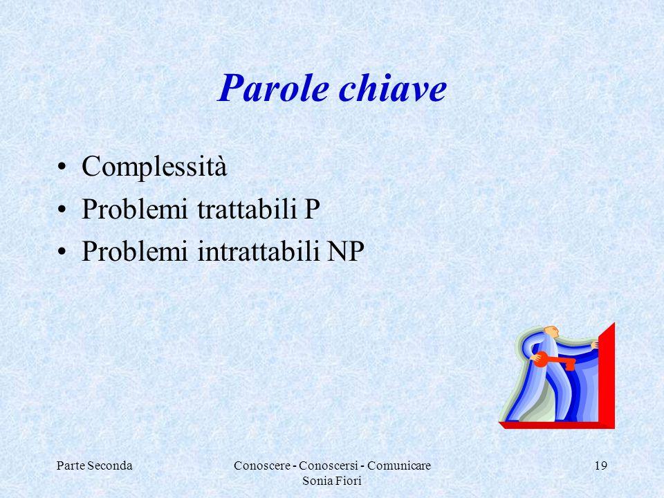 Parte SecondaConoscere - Conoscersi - Comunicare Sonia Fiori 19 Parole chiave Complessità Problemi trattabili P Problemi intrattabili NP