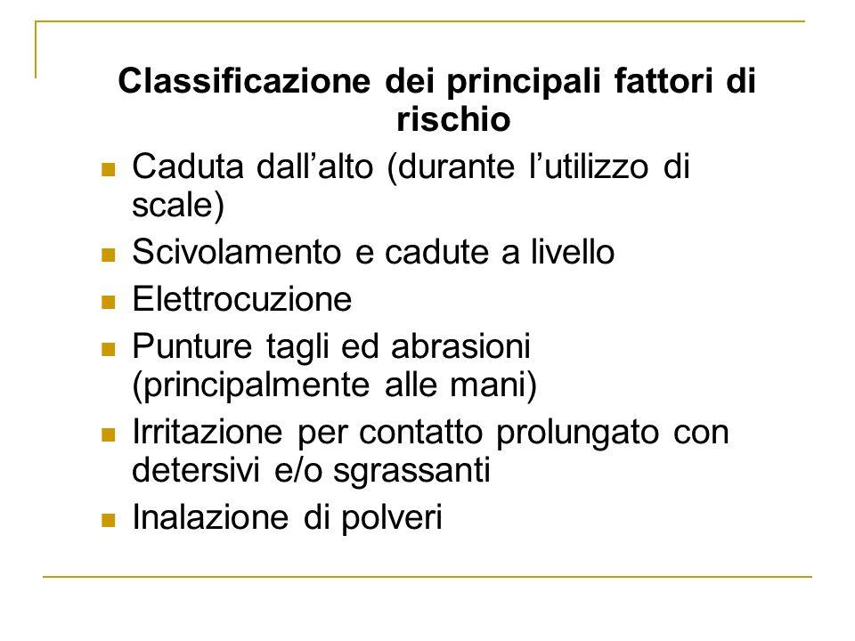 Classificazione dei principali fattori di rischio Caduta dallalto (durante lutilizzo di scale) Scivolamento e cadute a livello Elettrocuzione Punture