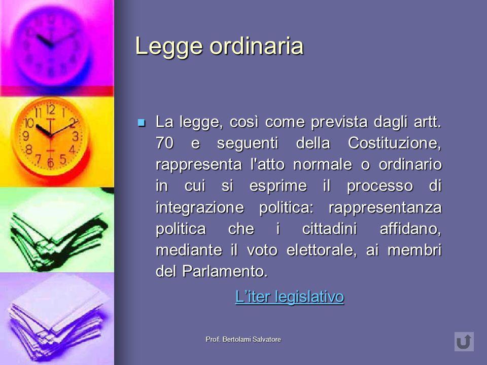 Prof. Bertolami Salvatore Fonti normative primarie Legge ordinaria Legge ordinaria Legge ordinaria Legge ordinaria Atti avente forza di legge Atti ave