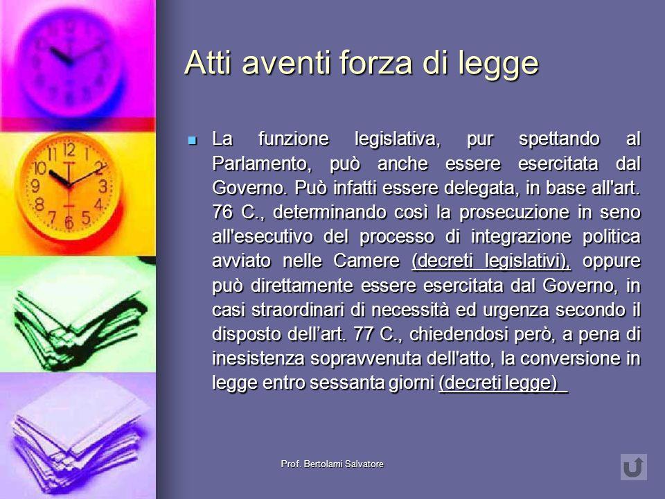 Prof. Bertolami Salvatore Funzione legislativa Iniziativa legislativa Iniziativa legislativa Discussione ed approvazione Discussione ed approvazione P