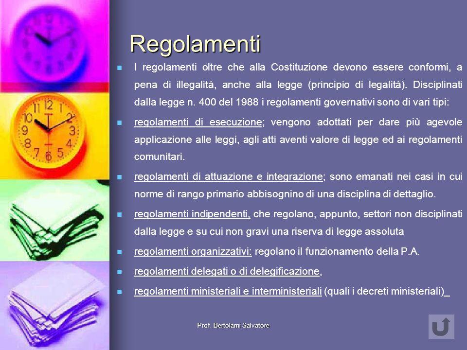 Prof. Bertolami Salvatore Fonti normative secondarie Regolamenti Regolamenti Regolamenti Consuetudini Consuetudini Consuetudini