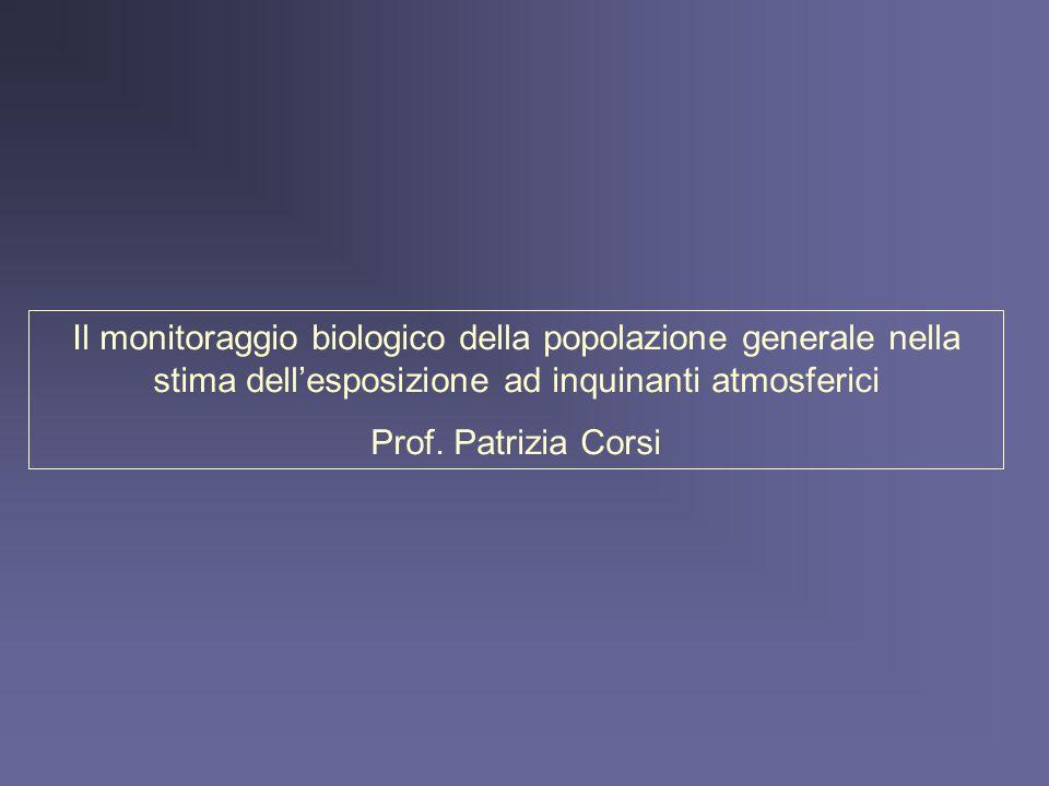 Il monitoraggio biologico della popolazione generale nella stima dellesposizione ad inquinanti atmosferici Prof. Patrizia Corsi