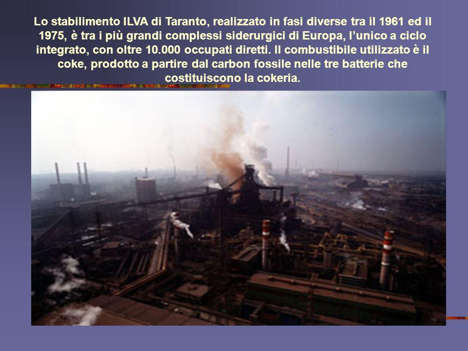 Lo stabilimento ILVA di Taranto, realizzato in fasi diverse tra il 1961 ed il 1975, è tra i più grandi complessi siderurgici di Europa, lunico a ciclo