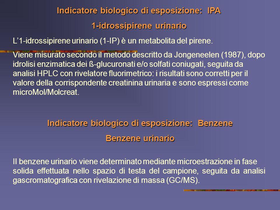 Indicatore biologico di esposizione: IPA 1-idrossipirene urinario L1-idrossipirene urinario (1-IP) è un metabolita del pirene. Viene misurato secondo