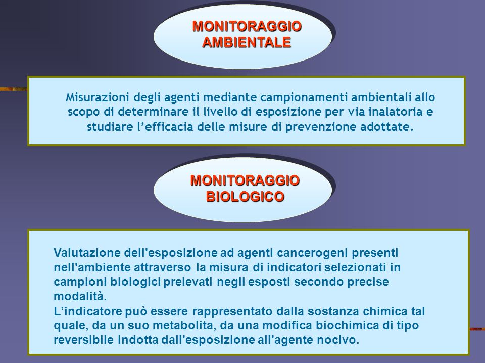 MONITORAGGIO AMBIENTALE Misurazioni degli agenti mediante campionamenti ambientali allo scopo di determinare il livello di esposizione per via inalato