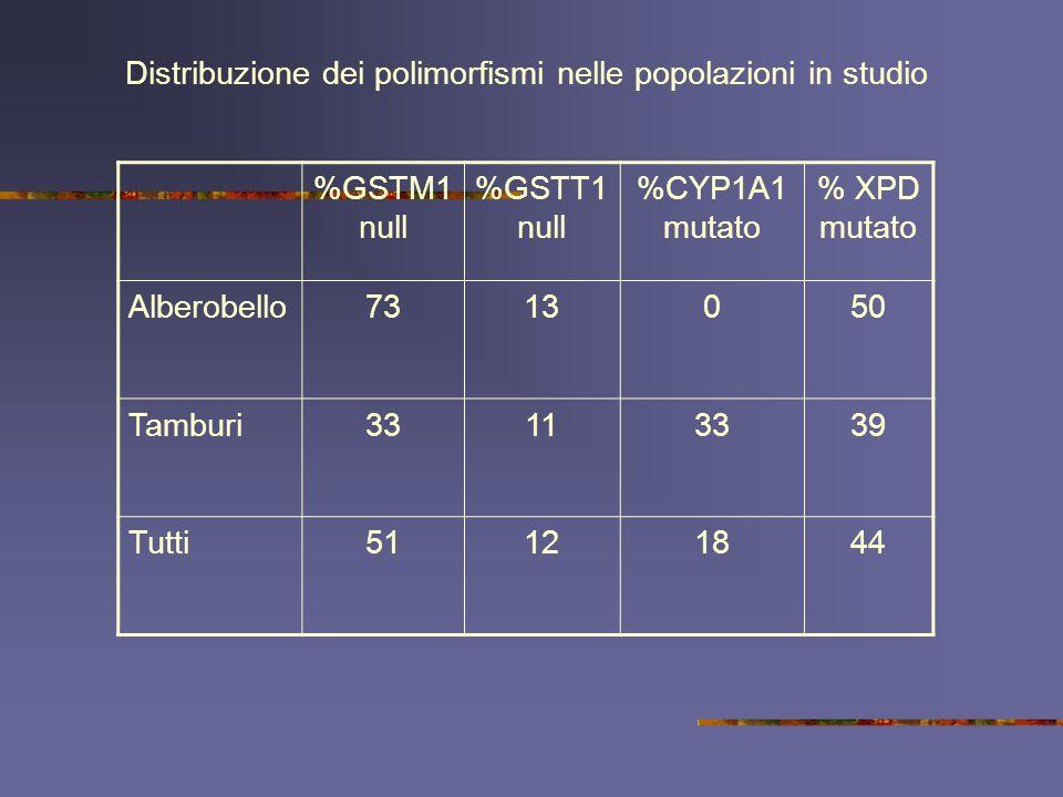 %GSTM1 null %GSTT1 null %CYP1A1 mutato % XPD mutato Alberobello7313050 Tamburi33113339 Tutti51121844 Distribuzione dei polimorfismi nelle popolazioni