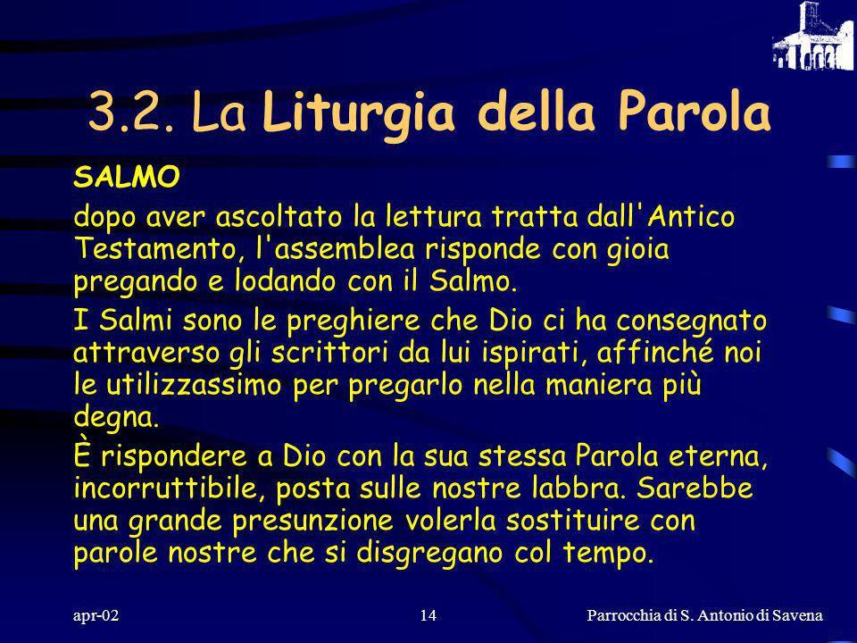Parrocchia di S. Antonio di Savena apr-0213 LETTURE BIBLICHE Dio, tramite la voce del lettore, istruisce il suo popolo con la sua Parola. Le esortazio