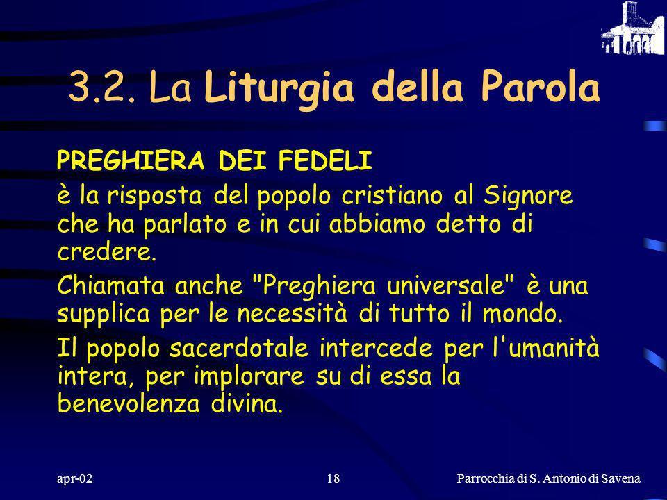 Parrocchia di S. Antonio di Savena apr-0217 SIMBOLO DELLA FEDE (CREDO) è la risposta corretta alla Parola ascoltata e segno di riconoscimento tra i cr