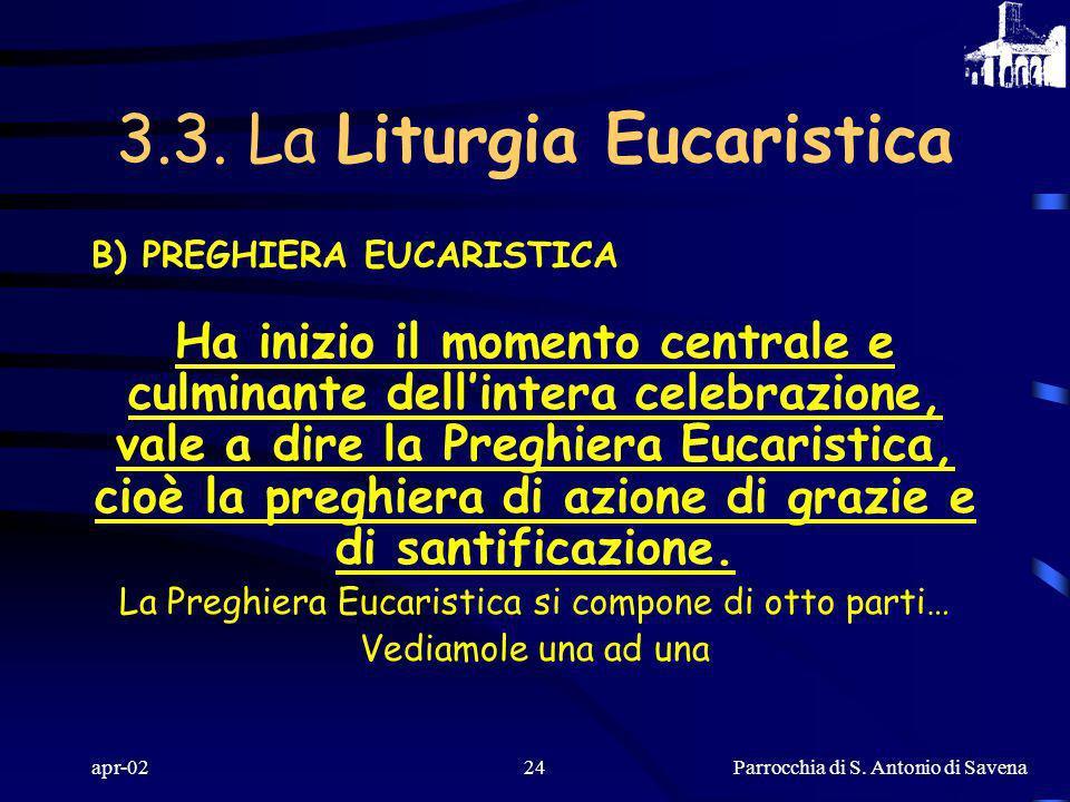 Parrocchia di S. Antonio di Savena apr-0223 A) PREPARAZIONE DEI DONI La preghiera sulle offerte viene pronunciata a voce alta dal sacerdote, con le br