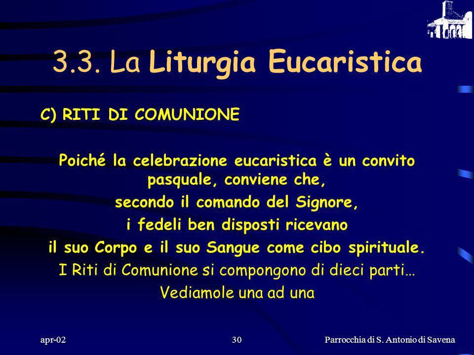 Parrocchia di S. Antonio di Savena apr-0229 LA PREGHIERA EUCARISTICA ESIGE CHE TUTTI LASCOLTINO CON RISPETTO E IN SILENZIO E VI PARTECIPINO CON LE ACC