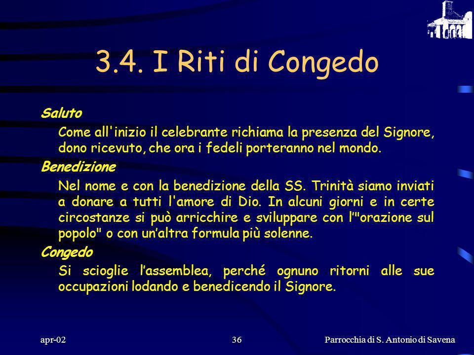 Parrocchia di S. Antonio di Savena apr-0235 C) RITI DI COMUNIONE Silenzio Dopo la comunione si lascia uno spazio di tempo in silenzio affinché in preg