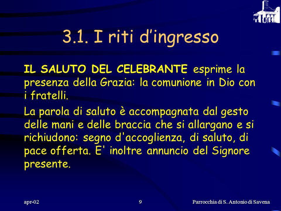 Parrocchia di S. Antonio di Savena apr-028 SEGNO DI CROCE Nel Nome della Trinità santa e indivisa: è memoria e professione di fede battesimale di tutt