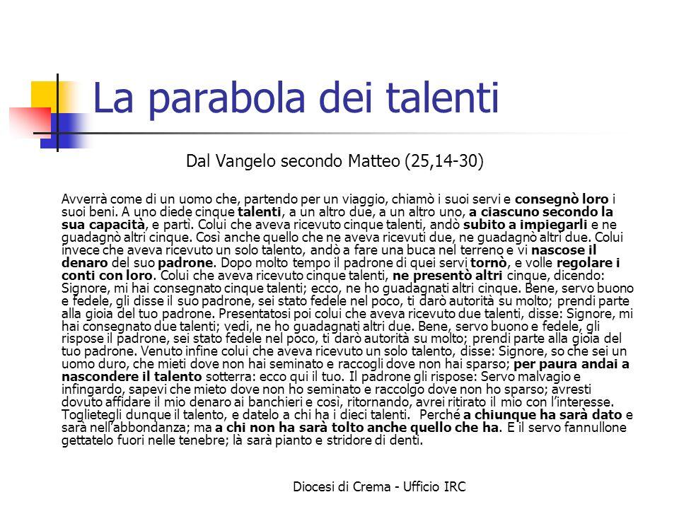 Diocesi di Crema - Ufficio IRC La parabola dei talenti Dal Vangelo secondo Matteo (25,14-30) Avverrà come di un uomo che, partendo per un viaggio, chi