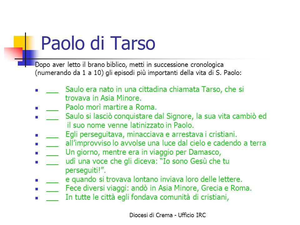 Diocesi di Crema - Ufficio IRC Paolo di Tarso Dopo aver letto il brano biblico, metti in successione cronologica (numerando da 1 a 10) gli episodi più