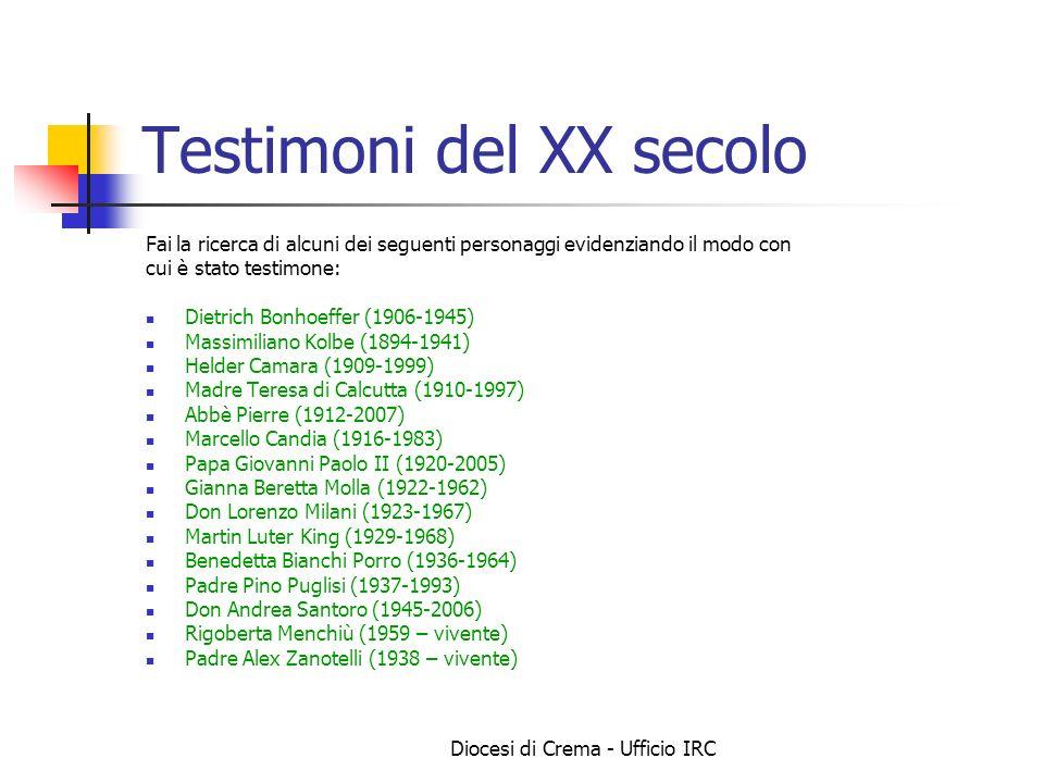 Diocesi di Crema - Ufficio IRC Testimoni del XX secolo Fai la ricerca di alcuni dei seguenti personaggi evidenziando il modo con cui è stato testimone