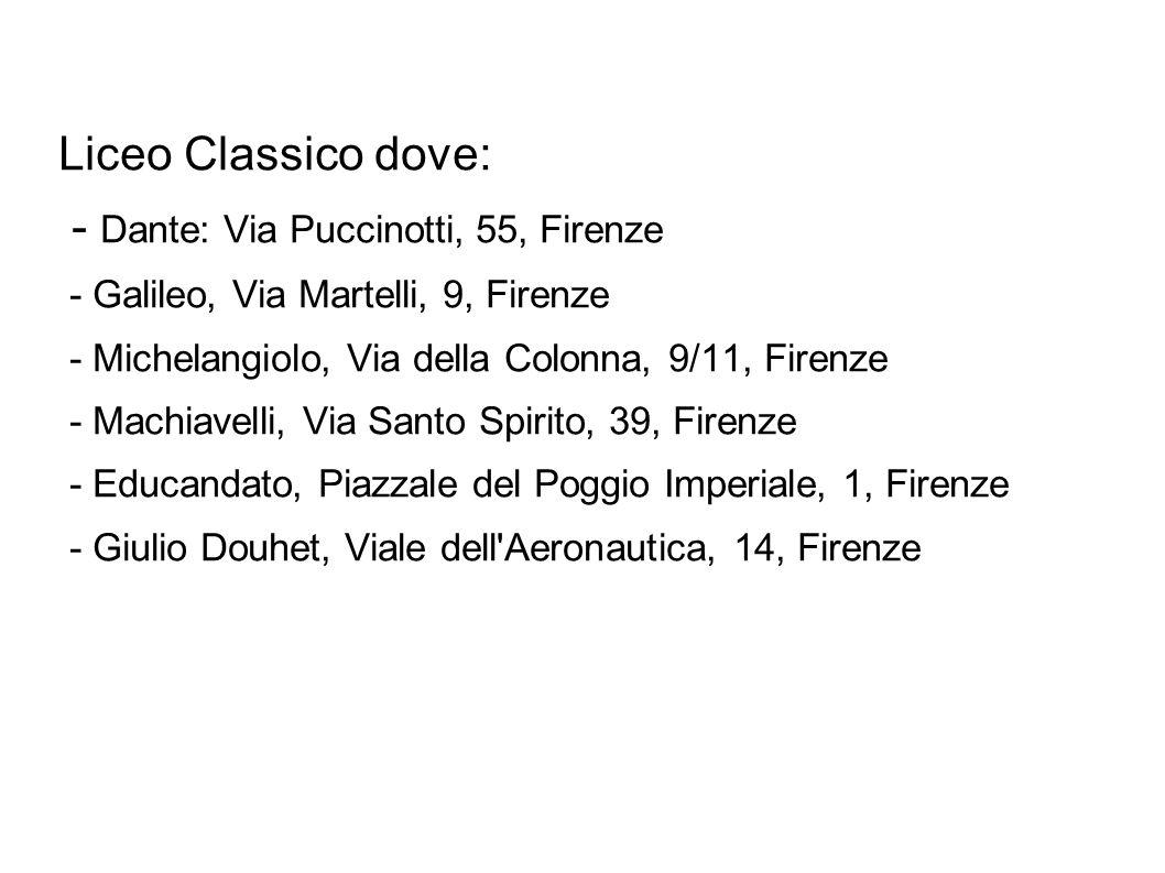 Liceo Classico dove: - Dante: Via Puccinotti, 55, Firenze - Galileo, Via Martelli, 9, Firenze - Michelangiolo, Via della Colonna, 9/11, Firenze - Mach