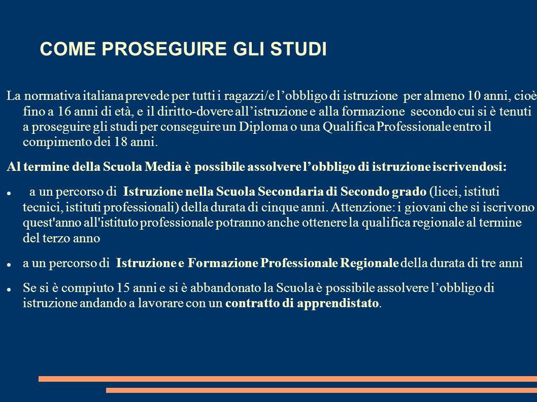 COME PROSEGUIRE GLI STUDI La normativa italiana prevede per tutti i ragazzi/e lobbligo di istruzione per almeno 10 anni, cioè fino a 16 anni di età, e