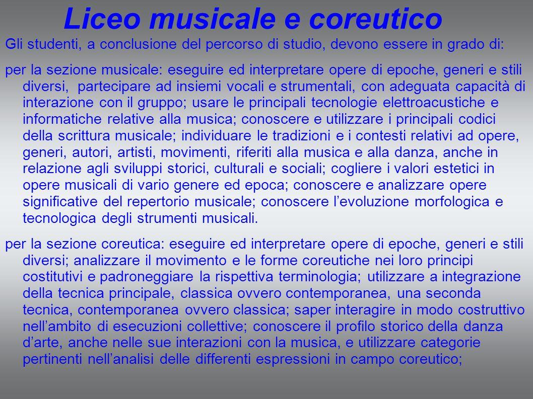 Liceo musicale e coreutico Gli studenti, a conclusione del percorso di studio, devono essere in grado di: per la sezione musicale: eseguire ed interpr