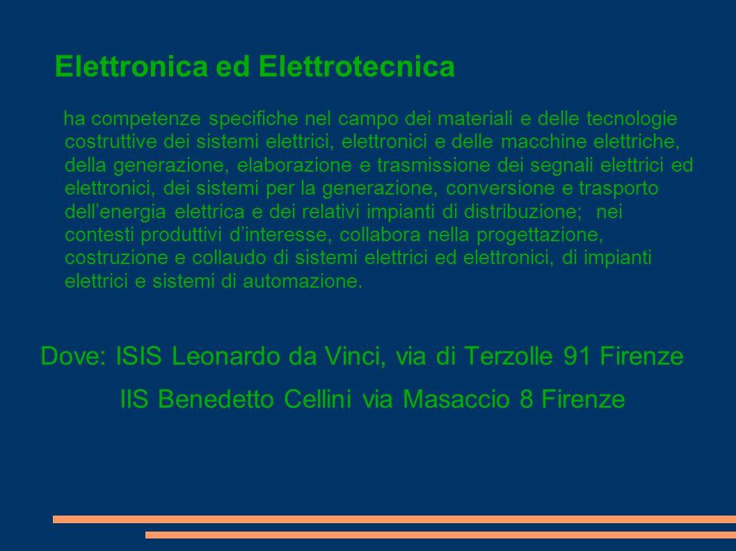 Elettronica ed Elettrotecnica ha competenze specifiche nel campo dei materiali e delle tecnologie costruttive dei sistemi elettrici, elettronici e del