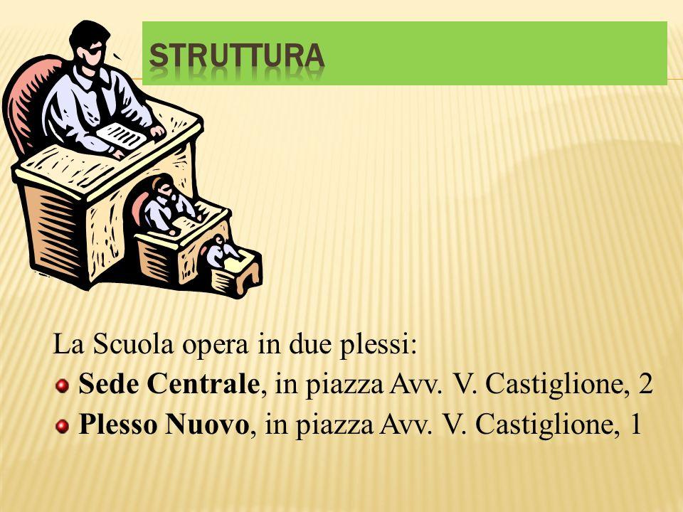 La Scuola opera in due plessi: Sede Centrale, in piazza Avv. V. Castiglione, 2 Plesso Nuovo, in piazza Avv. V. Castiglione, 1