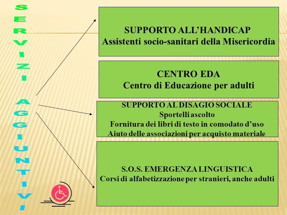 SUPPORTO ALLHANDICAP Assistenti socio-sanitari della Misericordia SUPPORTO AL DISAGIO SOCIALE Sportelli ascolto Fornitura dei libri di testo in comoda