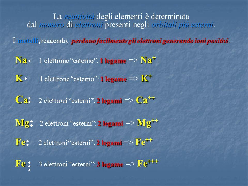 reattività numero di elettroniorbitali più esterni metalliperdono facilmente gli elettroni generando ioni positivi. La reattività degli elementi è det