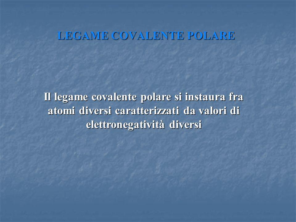 LEGAME COVALENTE POLARE Il legame covalente polare si instaura fra atomi diversi caratterizzati da valori di elettronegatività diversi