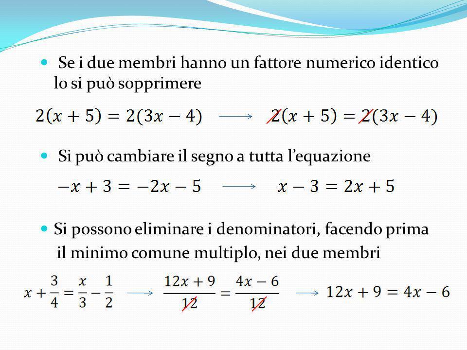 Se i due membri hanno un fattore numerico identico lo si può sopprimere Si può cambiare il segno a tutta lequazione Si possono eliminare i denominator