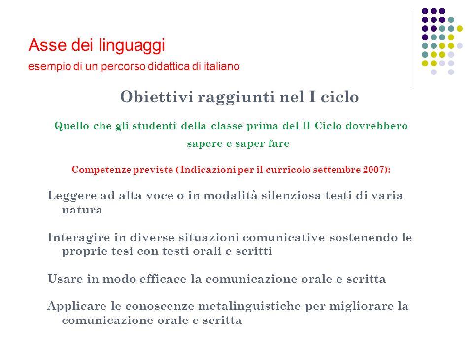 Asse dei linguaggi esempio di un percorso didattica di italiano Obiettivi raggiunti nel I ciclo Quello che gli studenti della classe prima del II Cicl