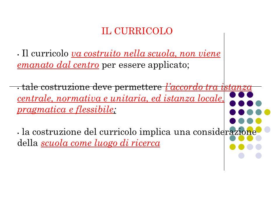 IL CURRICOLO Il curricolo va costruito nella scuola, non viene emanato dal centro per essere applicato; tale costruzione deve permettere laccordo tra