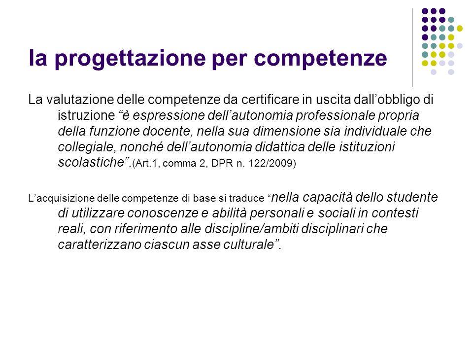 la progettazione per competenze La valutazione delle competenze da certificare in uscita dallobbligo di istruzione è espressione dellautonomia profess