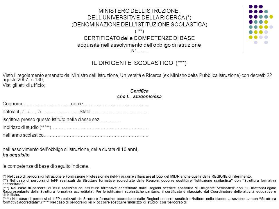 MINISTERO DELLISTRUZIONE, DELLUNIVERSITA E DELLA RICERCA (*) (DENOMINAZIONE DELLISTITUZIONE SCOLASTICA) ( **) CERTIFICATO delle COMPETENZE DI BASE acq