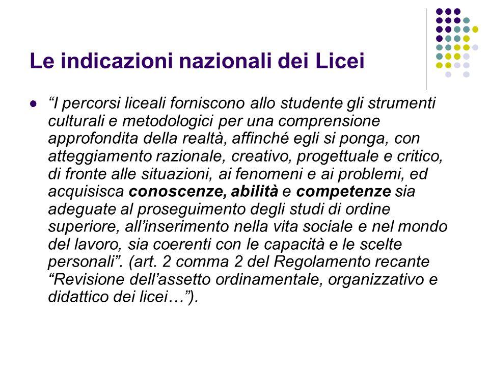 Le indicazioni nazionali dei Licei I percorsi liceali forniscono allo studente gli strumenti culturali e metodologici per una comprensione approfondit